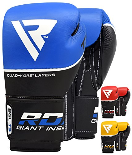 RDX Cow Hide Leather Gel Boxing Glove Punching Bag Mitts Muay Thai T9 - Blue, 16 oz, Blue