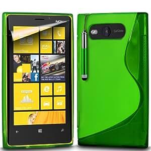 (Verde) Nokia Lumia 820 Protección onda S Línea Gel piel cubierta retráctil Capacative Pantalla Táctil Lápiz Óptico y pantalla LCD Protector de Spyrox