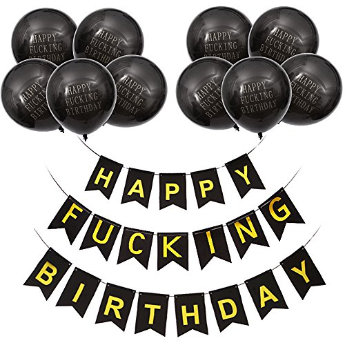 MeySimon Happy FING Birthday Banner Balloons Kit for Adult 21st-30th-40th-50th-60th Birthday, Black Funny Party Bunting Decorations