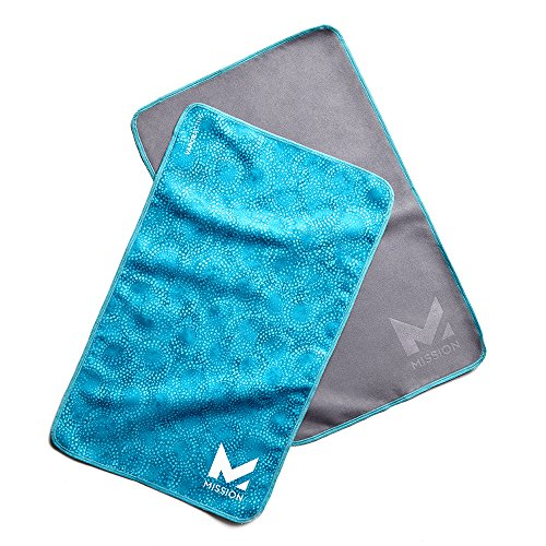 Mission VaporActive Yoga Hand Towel (Pack 2), Breathe Bluebird/Solid Charcoal, 10