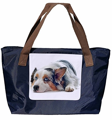 Shopper / Tracolla / Tote Bag / Tote Bag / Borsa A Tracolla In Nylon Blu Navy - Taglia 43x33cm - Motivo: Pastore Australiano - 06