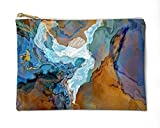 Makeup Bag or Pencil Case with Abstract Art in Blue and Brown, Bridge