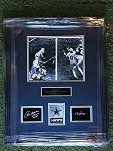 "Roger Staubach #12 & Drew Pearson #88 Dallas Cowboys ""Hail Mary"" Laser Etched Autograph Photo Custom Framed 18.5x22.5"