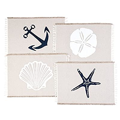 Living Fashions Table Placemats Set of 4 - Beach Themed Nautical Kitchen Placemats for Dining Table - 100% Washable Cotton Place Mat- Seashell, Sand Dollar, Starfish & Anchor Designs with Fringes - DECORATE YOUR KITCHEN TABLE: Get this set of four Indoor/Outdoor Table Placemats and decorate your kitchen table. Place a Table Mat in front of every chair and your kitchen table will look like it came straight out of a magazine! The neuter beige sand color of the Cloth Placemats will look great in any kitchen, no matter the colors of the cabinets. KEEP YOU DINING TABLE CLEAN: When you are preparing the dining table, instead of a tablecloth you can lay the Table Placemats. In this way you will keep your table clean if something spills out of your table. And the Placemats are smaller and, therefore, easier to clean than a large tablecloth. Your life just became easier! THE MOST BEAUTIFUL DESIGNS: Each one of the four Table Placemats has a unique beach themed coastal decor nautical design. There is one with a blue star and one with an anchor, both of them in a beautiful navy blue color. The other two designs are white and they are a shell and a sand dollar. The edges of the Placemats have elegant, short fringes. - placemats, kitchen-dining-room-table-linens, kitchen-dining-room - 51WwO8m6RaL. SS400  -