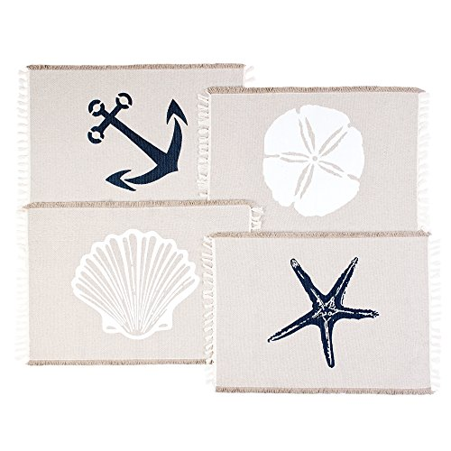 Living Fashions Table Placemats Set of 4 - Beach Themed Nautical Kitchen Placemats for Dining Table - 100% Washable Cotton Place Mat- Seashell, Sand Dollar, Starfish & Anchor Designs with Fringes