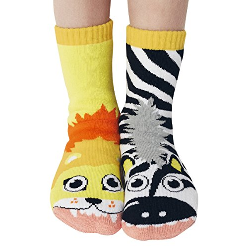 - Lion & Zebra Jungle Animal Pals Mismatched Silly Cozy Socks for Kids Boys Girls with Nonskid No Slip Grips (Age 4-8)