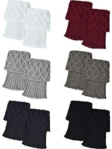Pangda 6 Pairs Women Boot Socks Cuffs Knitted Crochet Short Leg Warmers Winter Boot Toppers, Assorted -