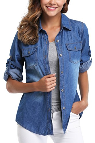 ccf383ecfab Women's Denim Shirt Long Sleeves Jean Shirts Blouse Tops Washed Roll up  Button Down Western Pockets