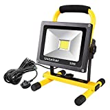 Ustellar 30W LED Work Light (200W Equivalent) 2400lm, 5m Wire with Plug, IP65 Waterproof Rotatable Construction Site Lights Spotlight, Outdoor Stand Detachable Flood Light for Workshop, 230V, 6000K Daylight, Black/Yellow