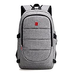Boboki Anti Theft Laptop Backpack, Business Water Resistant Travel Backpack with USB Charging Port & Headphone interface for Men&Women College Student,Fits 15.6 Inch Laptop - Grey