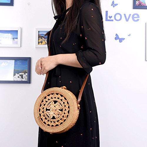 Everyday Clasp Travel Beach Chic Beach Bag Natural Peerless Womens Summer B Bow Bag Handwoven Straw Cm Bag Round with and 20x6 Rattan Crossbody for Use Vintage 1qxaHw8