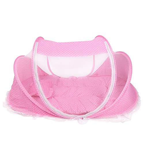 Baby Infant Travel Bed,Portable Folding Mosquito Net Anti-Bug Crib Tent Newborn Crib Summer Autumn Baby Cots with Mattress Pillow,Pink