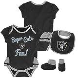 NFL by Outerstuff NFL Oakland Raiders Newborn & Infant Mini Trifecta Bodysuit, Bib, and Bootie Set Black, 3-6 Months
