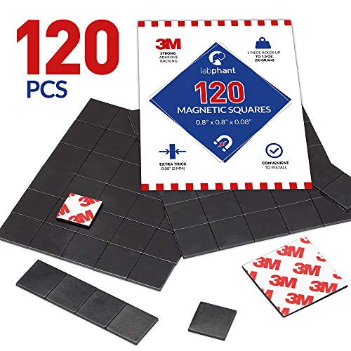 Magnetic Squares, 120 Pieces Magnet Squares (Each 20 x 20 x 2mm) on 4 Tape Sheets, with 3M Strong Adhesive Backing. Perfect for DIY, Art Projects, whiteboards & Fridge Organization ()