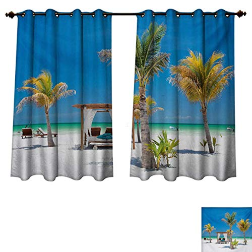 RuppertTextile Tropical Blackout Thermal Curtain Panel Beach Beds Among Palm Trees Paradise Coast Holiday Summer Ocean Sunbathing Picture Window Curtain Fabric Multicolor W72 x L63 inch