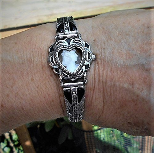 Heart CAMEO Watch Band Vintage Small Hand Carved Shell Cameo w/ Inlaid Malachite & Marcasites on Vintage Bracelet 7 1/4