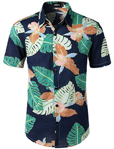 Flowers Hawaiin Blue (JOGAL Men's Summer Flower Regular Fit Button Down Casual Short Sleeve Aloha Hawaiian Shirt Large W334 Navy)