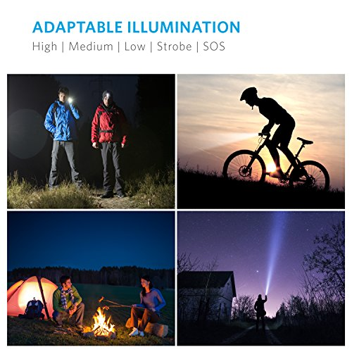 Anker Super Bright Tactical Flashlight Rechargeable 18650 Battery Included Zoomable IP65 WaterResistant 900 Lumens CREE LED 5 Light Modes for Camping and Hiking Bolder LC90
