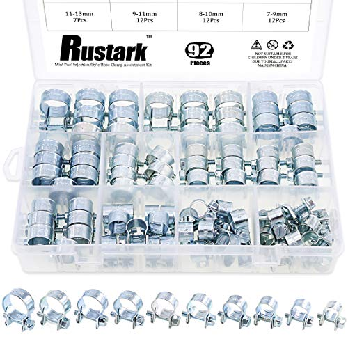 Rustark 92Pcs 7mm to 18mm (10 Sizes) Zinc Plated Carbon Steel Mini Fuel Injection Style Hose Clamp Assortment Kit for Diesel Petrol Pipe