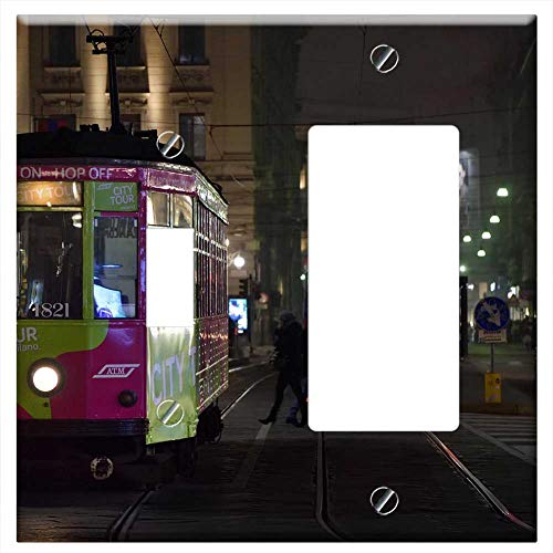 1-Toggle 1-Rocker/GFCI Combination Wall Plate Cover - Tram Milan Tracks People Trip Transport City
