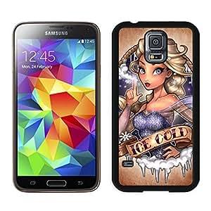 Samsung Galaxy S5 Case,2015 Hot New Fashion Stylish ice cold Disney Pricess Tatto Black Case Cover for Samsung Galaxy S5 i9600