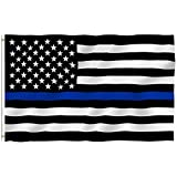 ANLEY [Fly Breeze] 3x5 Foot Thin Blue Line USA Flag - Vivid Color and UV Fade Resistant - Canvas Header and 4 Rows Stitched - Honoring Law Enforcement Officers Flags Polyester with Brass Grommets