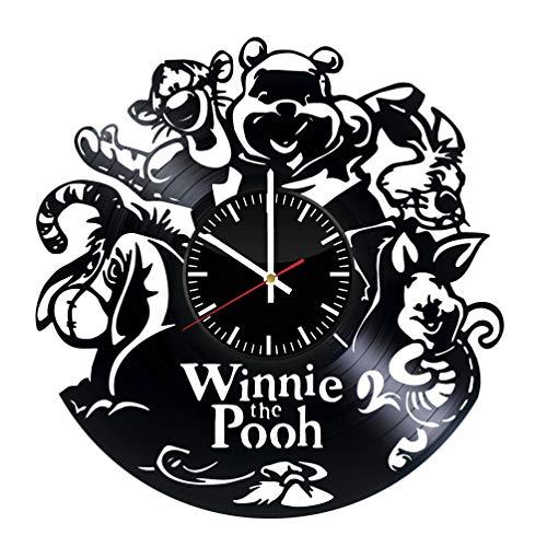 Winnie the Pooh vinyl clock, vinyl wall clock, vinyl record clock pooh bear winnie-the-pooh walt disney classics a.a. milne teddy bear wall art home decor kids gift 169 - (a2) ()