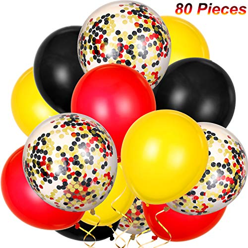 TecUnite 80 Pieces Latex Balloons Confetti Balloons Colorful Party Balloons for Christmas Valentine's Day St. Patrick's Day, 12 inch (Red, Yellow, Black) -