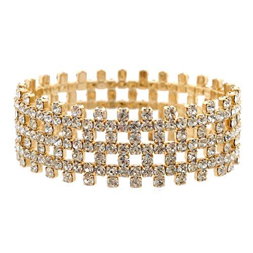 Topwholesalejewel Wedding Bracelet Gold Plating Rhinestone Stretch Bracelet