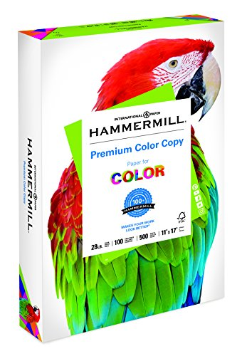 Hammermill Paper, Premium Color Copy Paper, 11 x 17 Paper, Ledger Size, 28lb Paper, 100 Bright, 1 Ream / 500 Sheets (102541R) Acid Free Paper (Color Laser Printer 11 X 17 Paper)