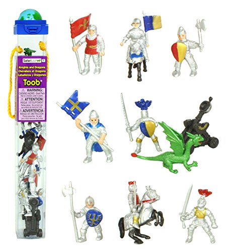 Safari Ltd 699904 Knights & Dragons Toob Hand Painted Toy Miniature Figurines (Set of 10) (Action Figurine)