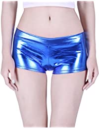 Women's Shiny Metallic Booty Shorts Liquid Wet Look Hot Pants Dance Bottoms