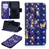 for Samsung Galaxy S9 Wallet Case and Screen Protector,QFFUN Glitter 3D Pattern Design [Purple Butterfly] Magnetic Stand Leather Phone Case with Card Holder Drop Protection Etui Bumper Flip Cover