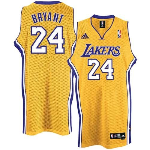 adidas Los Angeles Lakers #24 Kobe Bryant Gold Home Swingman Basketball Jersey (Medium) - Gold Swingman Basketball Jersey