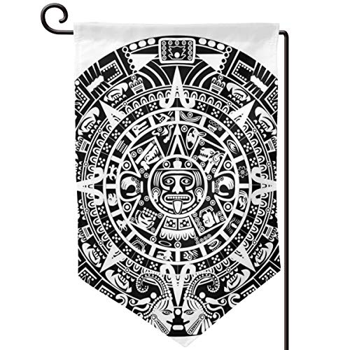 (hwhwiko Garden Flag,Mayan Calendar End of The World Prophecy Mystery Cool Ancient Culture Design Print,12.5x18.5 inch)