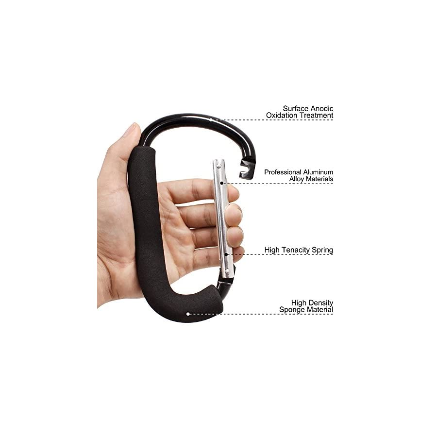 """FineGood 3 Packs Grocery Bag Holder Handle Carabiners, 6.2"""" 5.1"""" Handy Extra Large D Shape Hooks Carrier Tool with Soft Foam Grip, for Shopping Bags Handbag Tote Stroller Accessories Black, Blue"""