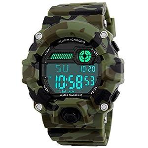 Kids Military Digital Watch With Timer - Waterproof Sports Watch Army Alarm Wrist Watches For Boys SEEWTA