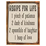 Wood-Framed Recipe for Life, Metal Sign, Kitchen Decor, Inspirational, Family, Motivational on reclaimed, rustic wood