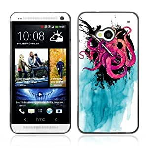 YOYOSHOP [Cool Octopus & Ink painting] HTC One M7 Case