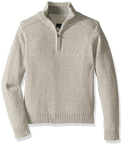 Nautica Little Boys Zip Neck 'Freeport' Quarter Zip Sweater, Grey Heather, Medium/5-6