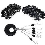 VIPMOON 100 Pcs Fishing Rubber Bobber Beads Stopper,6 in 1 Float Sinker Stops,Black Oval Float Stop Available