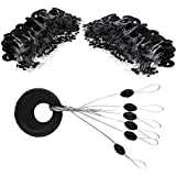 VIPMOON 100 Pcs Fishing Rubber Bobber Beads Stopper, 6 in 1 Float Sinker Stops, Black Oval Cylinder, S M L Float Stop Available