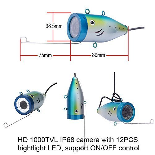 Portable Fish Finder Underwater Fishing Camera System Kit Video Recording Edition DVR 7'' Monitor LCD HD 1000TVL IP68 30m Cable 4500mAh Rechargeable Battery Night Version for Ice,Lake and Boat Fishing by Wosports