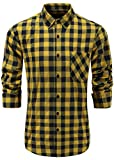 Emiqude Men's 100% Cotton Slim Fit Long Sleeve Stylish Button Down Plaid Dress Shirt Medium Yellow Navy