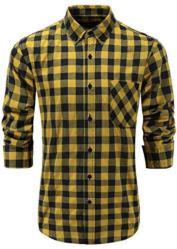 Emiqude Men's 100% Cotton Slim Fit Long Sleeve Stylish Button Down Plaid Dress Shirt Small Yellow Navy