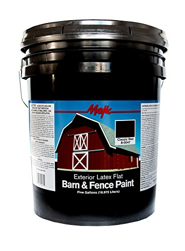 Majic Paints 8-0047-5 Latex Flat Barn & Fence Paint, 5-Gallons, Classic Red