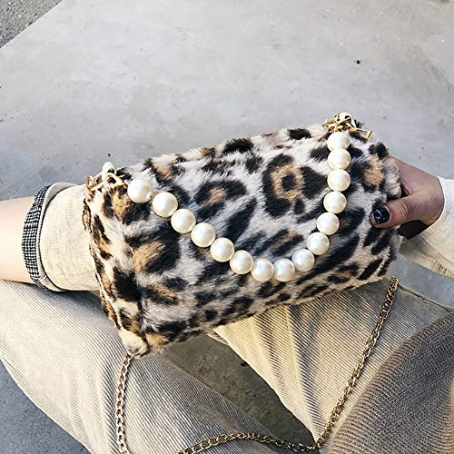 Finte Leopardato Versione Di Perla Brown Leopardo Piccola Decor Fashion Achidistviq Small Tonda Forma Tracolla Bag Coreana A Moda White Stampa Girls Della Shopping Borsa Perle Donne q5ExH
