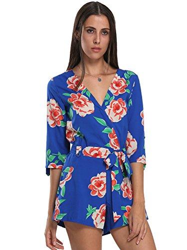 Choies Womens Floral Print Long Sleeves Romper Playsuit Jumpsuit