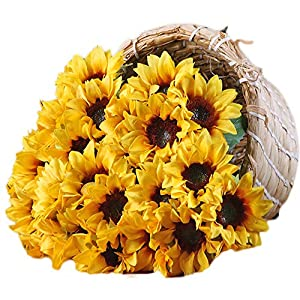 ZDMALL Artificial Flowers, Fall Decor Fake Flowers Silk Plastic Artificial Sunflowers Bridal Wedding Bouquet for Home Garden Party Wedding Thanksgiving & ChristmasDecoration(6PCS) 99