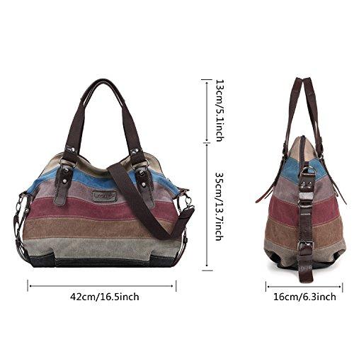 LOSMILE Multi-Color Striped Canvas Damen Handtasche / Umhängetasche,Mehrfarbig Canvas Schultertasche Hobo Bag.13 inch(H)*16 inch(L)*6 inch(D)